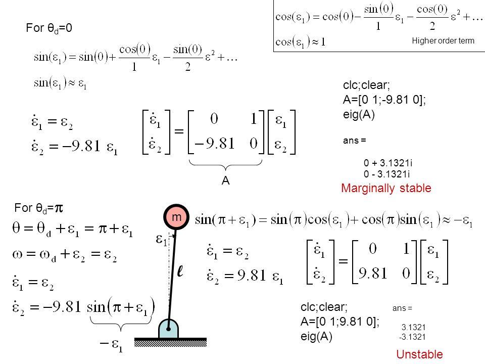 e1 l For θd=0 clc;clear; A=[0 1;-9.81 0]; eig(A) A Marginally stable